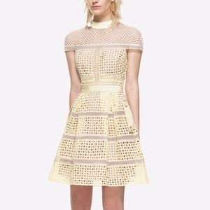 Self Portrait yellow fit flare lace guipure dress